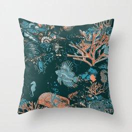 Coral Reef Aquatic Ocean Scene Throw Pillow
