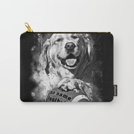 golden retriever dog football splatter watercolor black white Carry-All Pouch