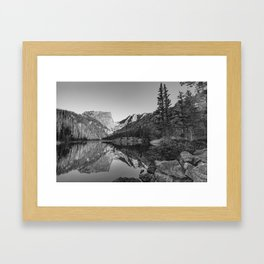Rocky Mountain Dream - Black and White Mountain Landscape Framed Art Print