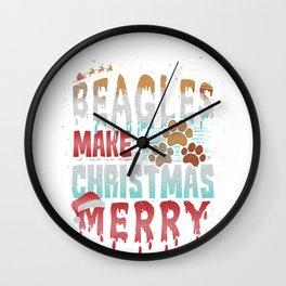 Christmas Dog Beagles Make Christmas Merry Wall Clock