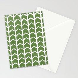 Herringbone Pattern Olive Green Stationery Cards