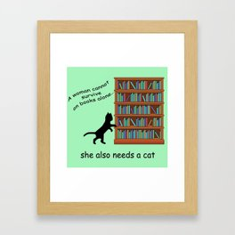 Cats and Books Framed Art Print