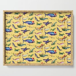 Whales on Holiday by dotsofpaint - Yellow Serving Tray