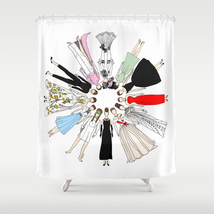 Audrey Hepburn Circle Fashion Shower Curtain By Notsniw