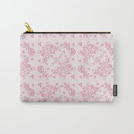 Elegant stylish dusty pink white floral lace Carry-All Pouch