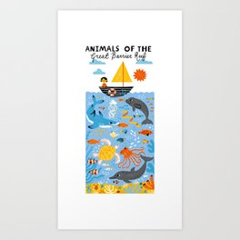 Animals of the great barrier reef Art Print