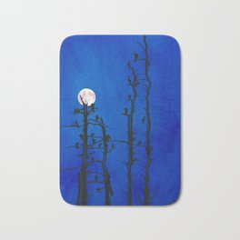 Moonlit bird silhouettes Bath Mat