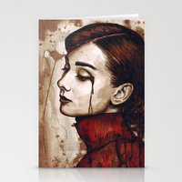 hepburn Stationery Cards featuring Audrey Hepburn by Olechka
