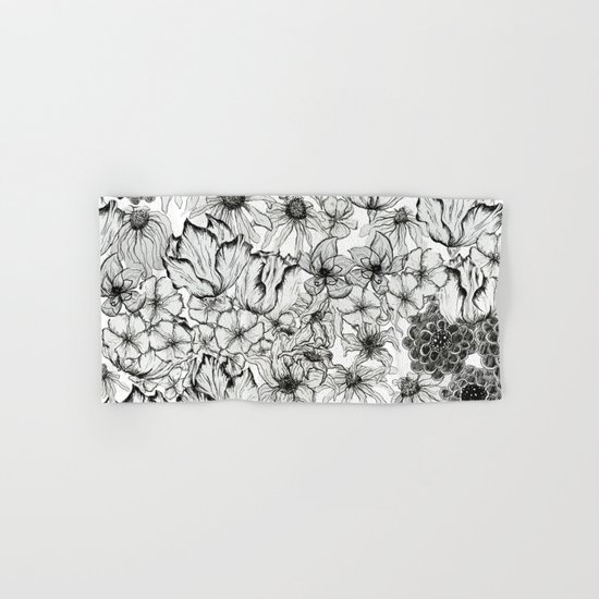 Ink Flowers Hand & Bath Towel
