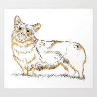 corgi Art Prints featuring Corgi!!!! by katieWalkerDesigns