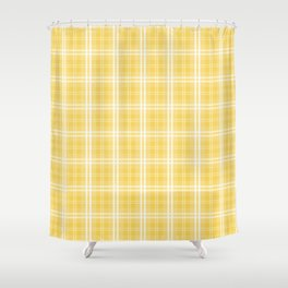 Spring 2017 Designer Color Primrose Yellow Tartan Plaid Check Shower Curtain