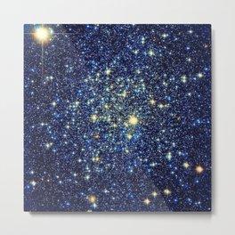 galaxY Stars : Midnight Blue & Gold Metal Print