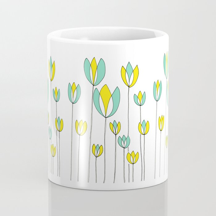 Drawing of Teal and Yellow Happy Tulips by Emma Freeman Designs Coffee Mug