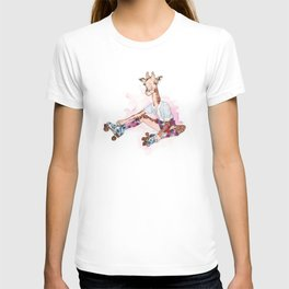 Roller Skating Giraffe Watercolor T-shirt