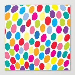Colour Spots White Canvas Print