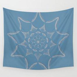 Dot Mandala Dark Blue - 3D Pointilism Wall Tapestry
