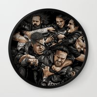 sons of anarchy Wall Clocks featuring Sons of Anarchy-War by Denis O'Sullivan