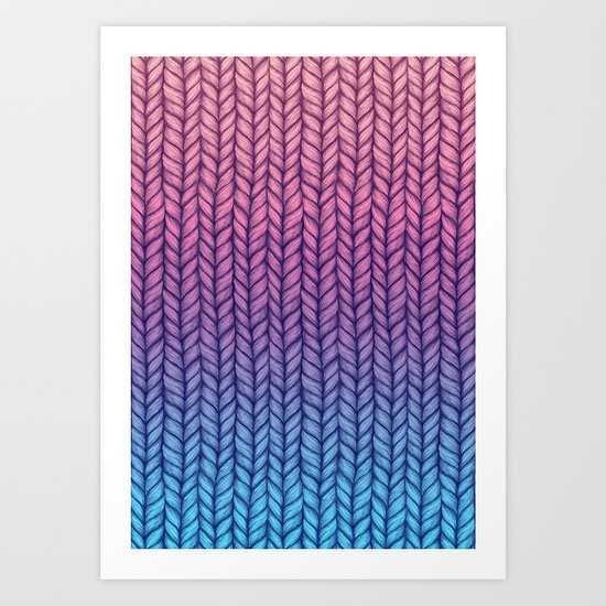 Chunky Knit Pattern in Pink, Blue & Purple Art Print