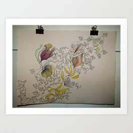 Illustration with Floral Art Print