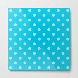 Aqua Blue Polka Dots Metal Print