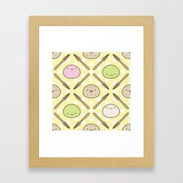 Mochi Kochi | Pattern in Yellow Framed Art Print