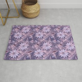 The floral pattern. Lilac flowers on abstract background. Rug