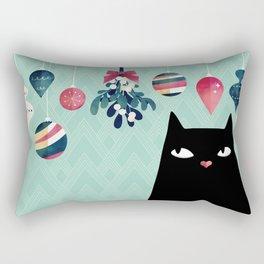 Mistletoe? (Black Cat) Rectangular Pillow