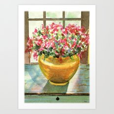 flowers in golden vase Art Print