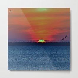 Sun Sinking Metal Print
