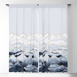 Mountains 2 - Gold Colored Lines Blackout Curtain