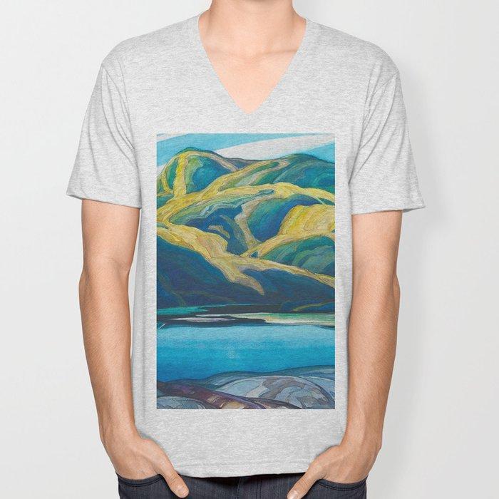 Canadian Landscape Oil Painting Franklin Carmichael Art Nouveau Post-Impressionism Lone Lake Unisex V-Neck