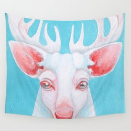 Portrait of a White Stag Wall Tapestry