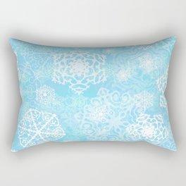 Snowflakes - Blue Rectangular Pillow