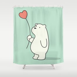Kawaii Cute Polar Bear Shower Curtain