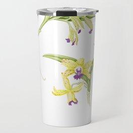 3 Stem flowering yellow and purple cattleya orchid Travel Mug