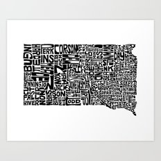 Typographic South Dakota Art Print
