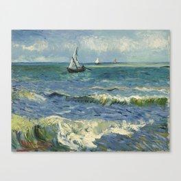 The Sea at Les Saintes-Maries-de-la-Mer by Vincent van Gogh Canvas Print