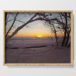 Winter Beach Sunset Serving Tray