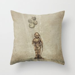 Balloon Fish (Sepia) Throw Pillow