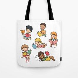 Kids Reading Books Tote Bag