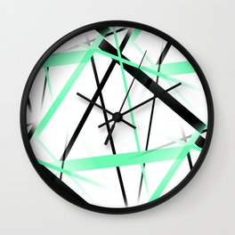 Criss Crossed Mint Green and Black Stripes on White Wall Clock