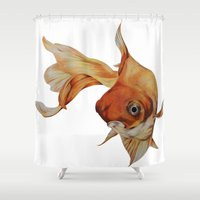 goldfish Shower Curtains featuring Goldfish by Tosasmok