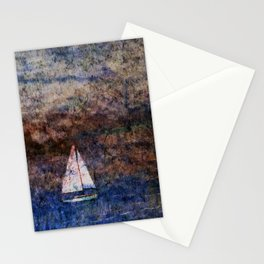 Sailboat on Cork Stationery Cards