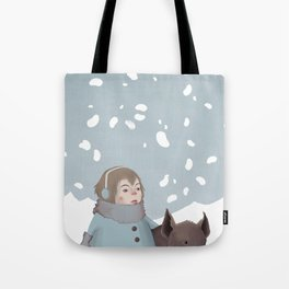 Pig in snow Tote Bag