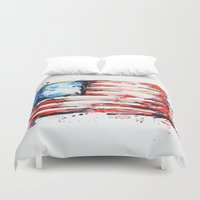 american flag Duvet Covers featuring American Flag by Larissa Ria Loomans