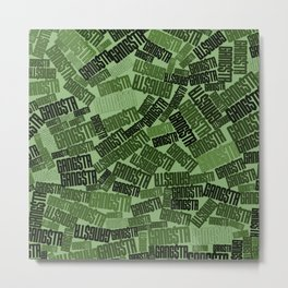GANGSTA jungle camo / Green camouflage pattern with GANGSTA slogan Metal Print
