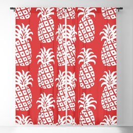 Retro Mid Century Modern Pineapple Pattern Red 2 Blackout Curtain