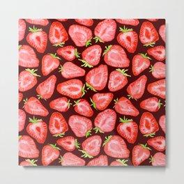 Fresh strawberry slices watercolor dark bg Metal Print