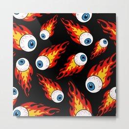 Flaming Eyeball Pattern Metal Print