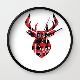 Happy Deer Christmas Pajama Red Plaid Buffalo Matching product Wall Clock